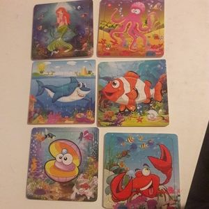 6 small puzzles for kids. Sea / ocean theme